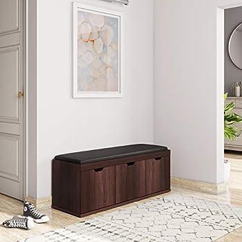 Amazon Brand - Solimo Andro Engineered Wood 3-Door Shoe Rack with Seat (Oak Finish)