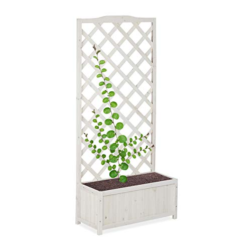 Relaxdays, bianco fioriera con spalliera, impermeabile, in legno, per balcone, giardino, rose, portavasi da 35 l, 150 cm