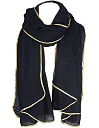 World of Shawls SEASONAL SPECIAL New Ladies Celebrity Style Glitter Sparkle Stardust with Gold Piping Border Scarf Scarves Maxi Wrap Wedding Party Gift