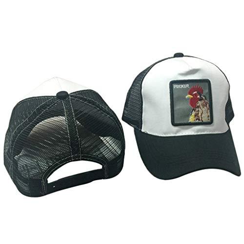 JOYKK Unisex Tier Stickerei Patch Baumwolle Mesh Baseball Cap Trucker Mütze Snapback Rooster - 9# Hahn weiß + schwarz Hahn Patch
