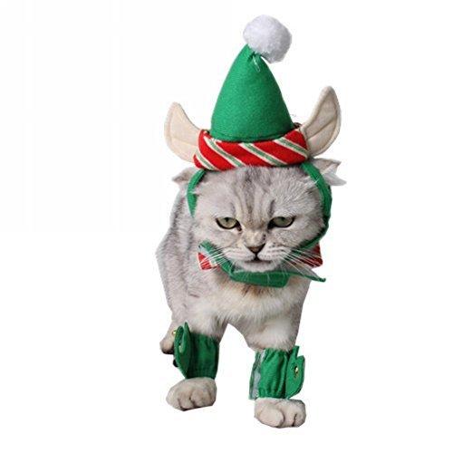 Elf Kostüm Hat - Tiadi Small Large Sofortkauf-Weihnachten Pet Kostüm, Santa Elf Hat mit Ohren Hals Halsband Manschetten Small Large