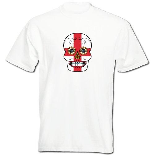 T-Shirt - England - Sugar Skull - Fahne - Herren - unisex Weiß
