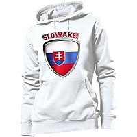 love-all-my-shirts Slowakei Fussball Fanhoodie Frauen Damen Hoodie Pulli Kapuzen Pullover Fanartikel Kapuzenpullover