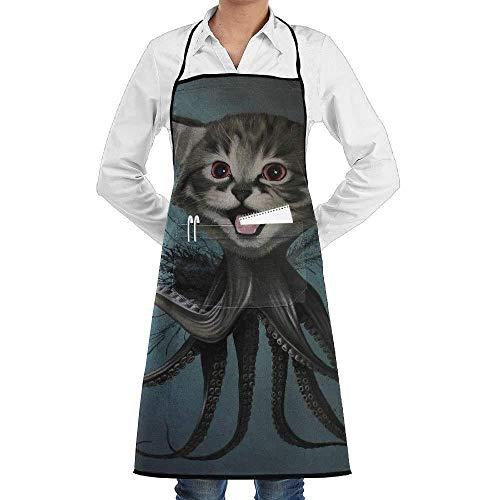 Drempad Schürzen Cat Head Octopus Fashion Waterproof Durable Apron with Pockets for Women Men Chef