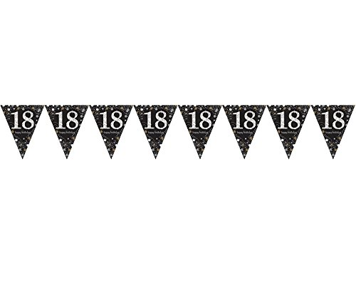 Preisvergleich Produktbild 1x * HAPPY BIRTHDAY BANNER * zur Dekoration auf einem 18. Geburtstag // Celebration Wimpelkette Bunting Pennant