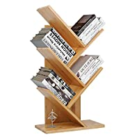 Tree Desktop Bookshelf Desk Bookcase Display Book Rack 4 Tier Tree Bamboo Shaped Counter Top Bookcase Organizer Table Storage Adjustable Freestanding for Home Office Living Room