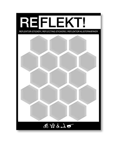 REFLEKT! Waben Silber (Design und Farbe wählbar) Reflektoren Aufkleber/Sticker – selbstklebend reflektierend Sicherheitsaufkleber für Fahrrad, Kinderwagen, Buggy,...