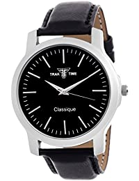 Traktime Classique Analogue Black Round Dial Wrist Watch For Men / Women With Black Leather Strap