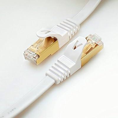 CAT 7 RJ45/Plat. Veetop Câble Ethernet/LAN, Plat, STP, Vitesse de transfert 10 GO/s. Compatible avec Routeur Modem Boitier de commutation Boitier ADSL Panneau de brassage Imprimante de Veetop