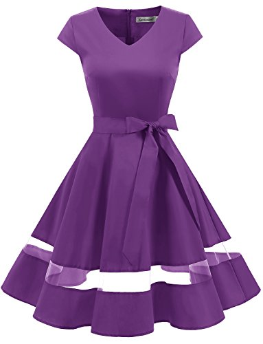 Gardenwed Damen Vintage 1950er Retro Rockabilly Festliches Kleid Cocktailkleider PartyKleid Purple...