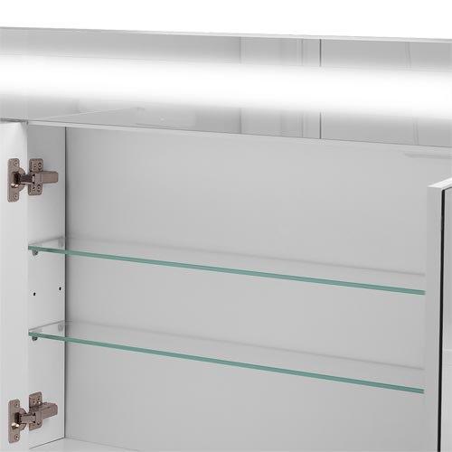 Badspiegelschrank beleuchtet BF01W90, 3-türig, 90x65x15cm, Weiss, inkl. Leuchtmittel - 9