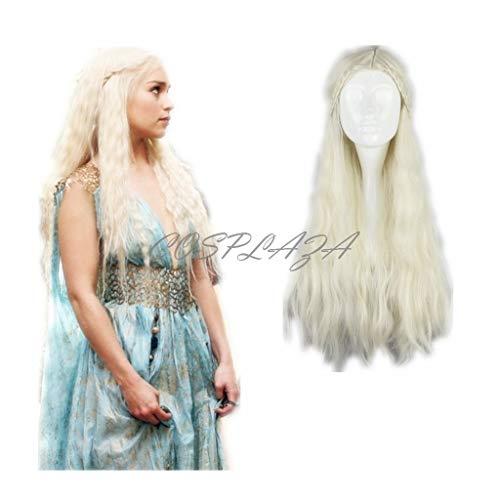 COSPLAZA Perücke Cosplay Wig Game of Thrones Daenerys Targaryen Barbarian geflochten Lang wellig gewellt - Khaleesi Kostüm Weiß