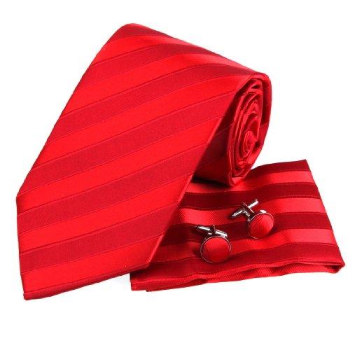 PH1050 Stile Italiano Red Stripes 100% seta Cravatta Fazzoletti per lui Gemelli Fazzoletti Set con scatola regalo per Epoint