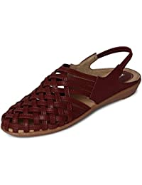 MarcLoire Women Casual Flats, Girls Ballet Flats, Closed-Toe Slip On Flat Sandals - Faux Leather, Red, Size -...