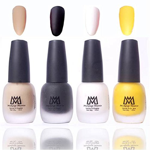 Makeup Mania Premium Nail Polish Velvet Matte Nail Paint Combo (Nude, Black, White, Yellow, Pack of 4)
