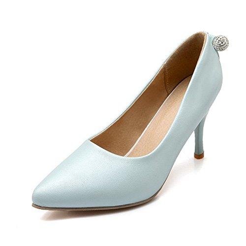 AllhqFashion Damen Hoher Absatz Weiches Material Rein Ziehen Auf Spitz Zehe Pumps Schuhe Blau