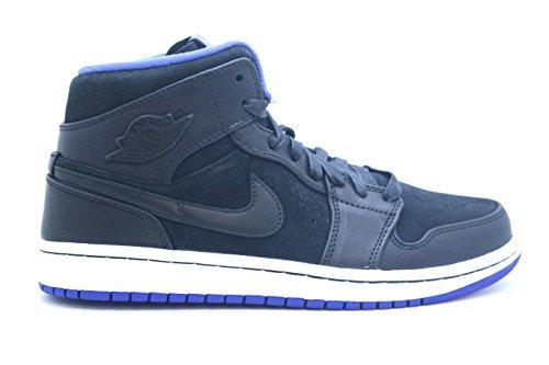 Nike Jordan Air Jordan 1 Mid Nouveau Schwarz / schwarz / dunkel Concord / weiÃ? Basketballschuh 10.5 (Air Jordan Nouveau 1)