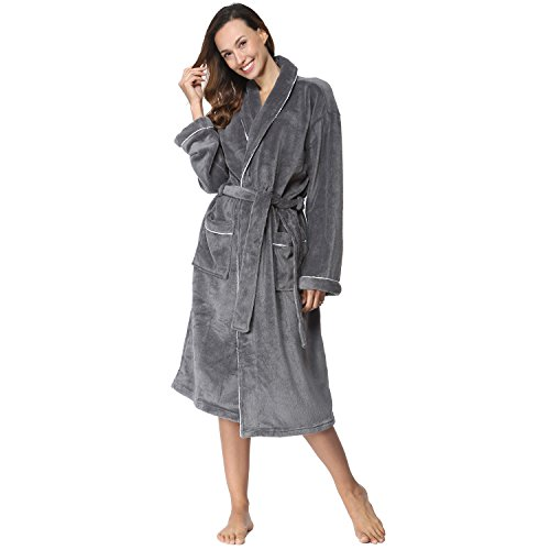COSMOZ Morgenmantel für Damen - Flauschiger Damen-Bademantel aus 100% hautfreundlichem Coral-Fleece in Grau, XL