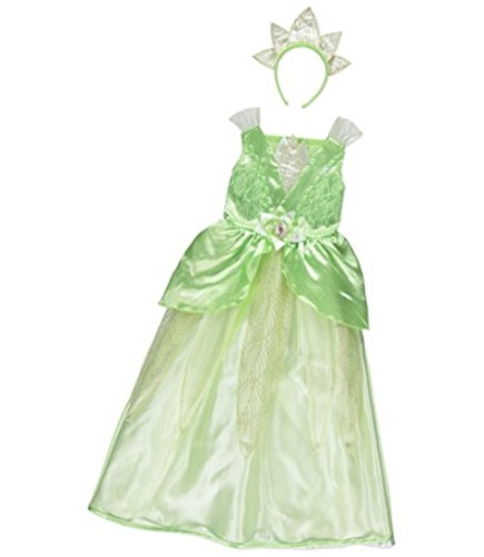 George Disney Princess Tiana Kids Green Girls Fancy Dress Outfit Costume
