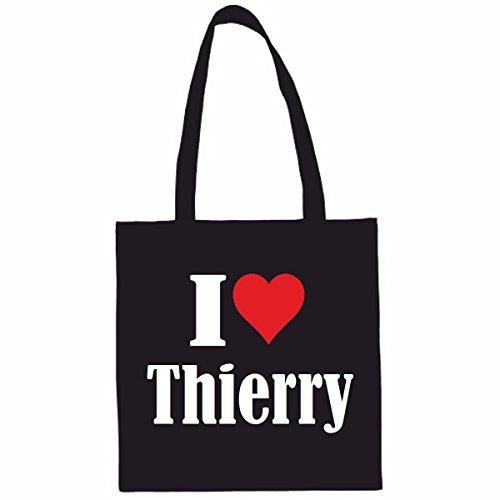 Sac à Bandoulière I Love Thierry Shopping Bag Sac d'école Sac de Sport 38x 42cm en Noir ou Blanc.. Le cadeau parfait pour votre amoureux
