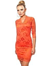 Abendkleid kurz Partykleid elegant Minikleid Spitze mit V-Ausschnitt & 3/4 Langarm