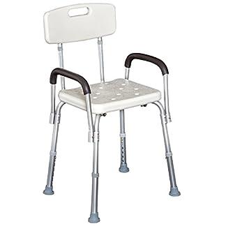 Homcom Silla Tipo Taburete Ortopédico Regulable para Ducha y Baño – Color Blanco – Carga 135 Kg – 46,5×54.2×72,5-85 cm