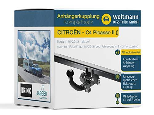 Weltmann AHK Komplettset CITROËN C4 Picasso II Brink Abnehmbare Anhängerkupplung + fahrzeugspezifischer Jaeger Automotive Elektrosatz 13-polig