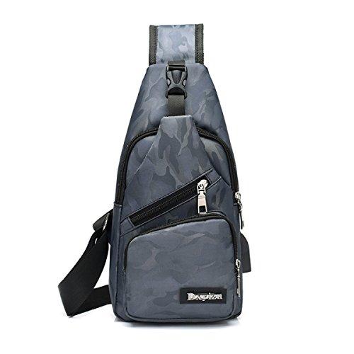 BULAGE Pack Brusttaschen Rucksäcke Taschen Männer Freizeit Männlich Und Weiblich Brust- Schulter- Schulranzen Männer Leinwand USB-Aufladung Grey