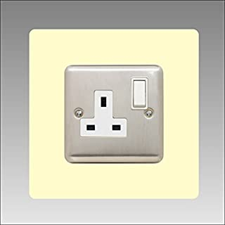 Single Socket Surround | square | acrylic back panel or finger plate | 17 colours + clear (black, grey, white, yellow, clear, green) square acrylic light switch plug, font colour:ivory