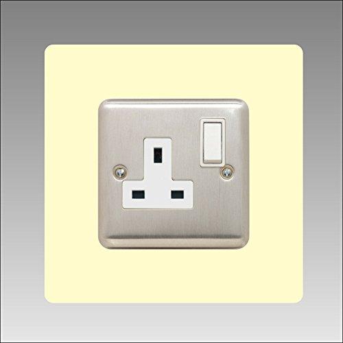 Einfassung für Einzelsteckdosen, 3mm, quadratisch, mit Lichtschalter, Acryl, 16Farben (schwarz, grau weiß, elfenbeinfarben, blau, braun, grün und viele mehr) , elfenbein -