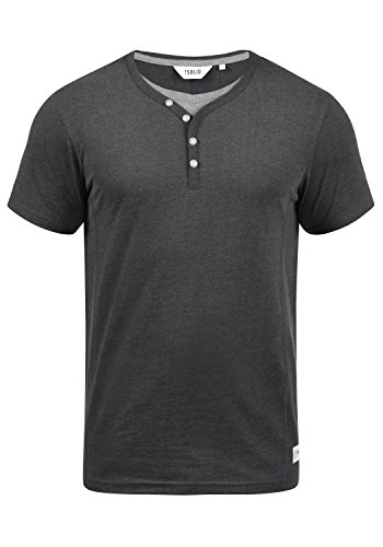 !Solid Dorian Herren T-Shirt Kurzarm Shirt Mit Grandad-Kragen, Größe:M, Farbe:Med Grey M (8254) -