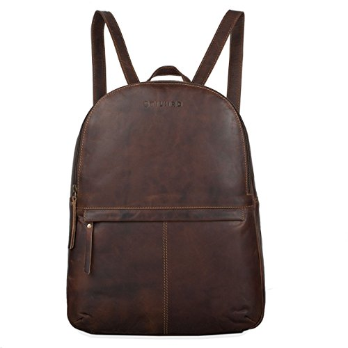 STILORD 'Conner' Zaino in pelle uomo donna Zainetto vintage porta pc portatile 13,3' in cuoio grande Borsa per l'università, Colore:mocca - marrone scuro