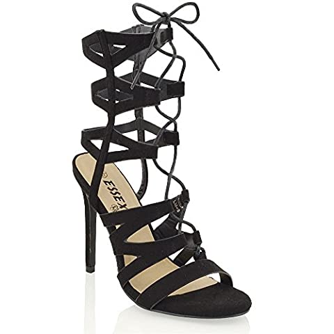 Womens Lace Up Ankle High Heel Sandals Ladies Cut Out Strappy Calf Stiletto Booties Size 3-8