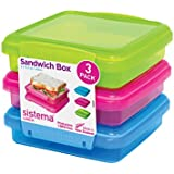 Sistema Lunch Sandwich Box 3 Pack -450 ml, Assorted
