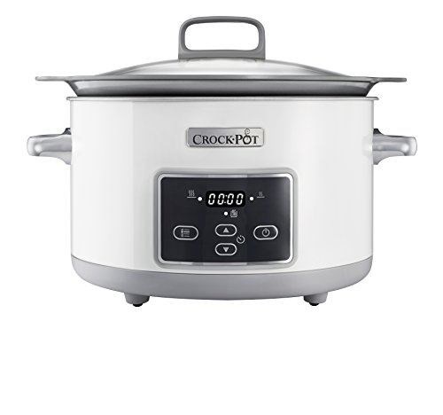 Crock-Pot Duraceramic Csc026X - Olla de cocción lenta, 5 L, color blanco
