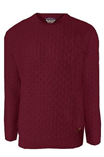 Herren Gestrickter Pullover Threadbare Shetland Pullover Rundhals Grob Gestrickt Pullover - Weinrot, L - 106-111cm Brust (Gerippte Klobige Pullover)