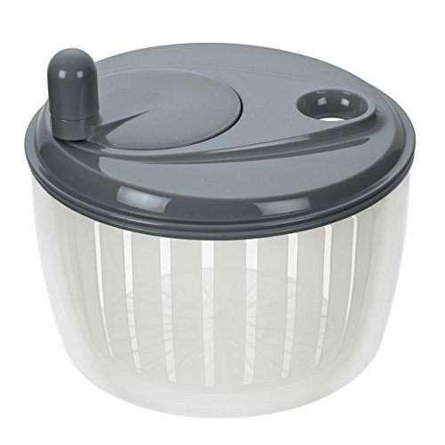 Lurch Salatschleuder mit Kurbel, Kunststoff, Iron Grau/Weiß, 22 x 22 x 16 cm