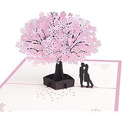 MUOVE 3D Pop Up Hochzeitskarte - Kirschblüte Liebhaber Valentinstag Karte, Hochzeitstag, Hochzeitseinladungen, Grußkarte, Romantik-Karte,Geburtstagskarte für sie, Glückwunschkarten mit Umschlag