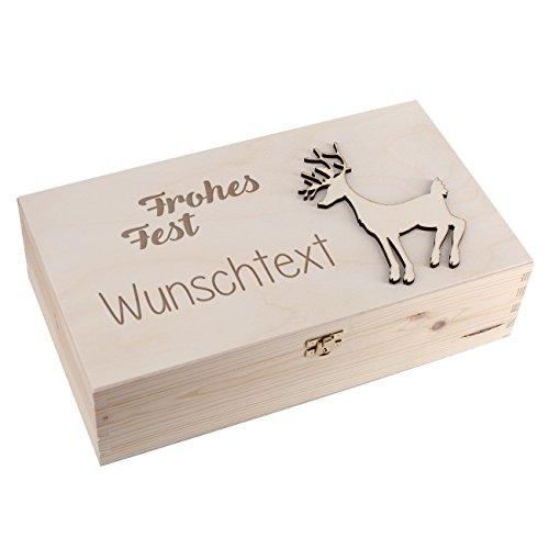 Herz & Heim Hochwertige Weinkiste mit Holzapplikation - Frohes Fest - mit Gravur Ihres Wunschtextes