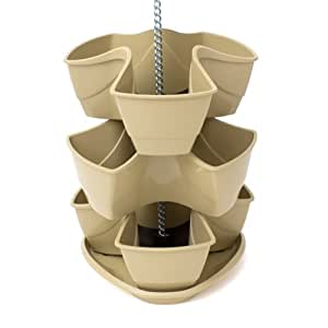 Terra 5900334100 Vaso pensile a trifoglio per piante, erbe aromatiche, 3 livelli, colore beige