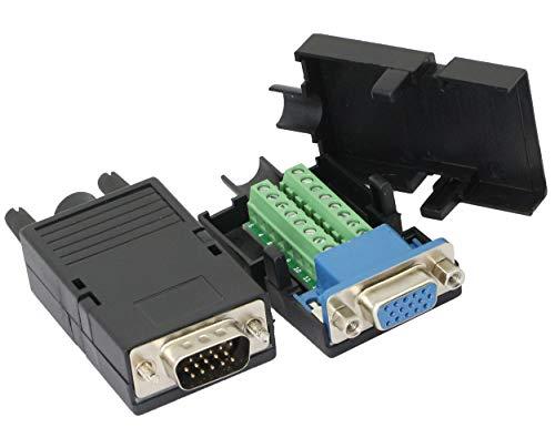 CERRXIAN D-SUB DB15 3 Reihen VGA 3+9 Stecker + Buchse 15-polige Abdeckung Breakout Terminals Board Connector (1 Paar) -