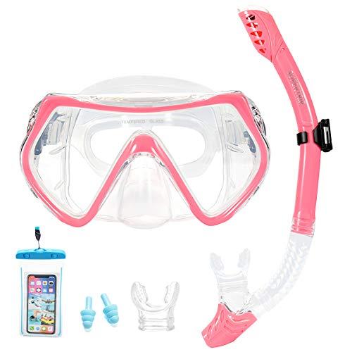 Masque et tuba Supertrip pour enfant et adulte - Anti-vapeur et anti-fuite - Avec 2 embouts, 1 pochettes de téléphone étanche et 2 bouchons d'oreilles, rose