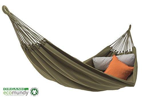 ECOMUNDY Pure XL Bio 360 - Hamac Double Premium - Vert - Coton Bio - GOTS. 160x240x360cm - max 250kg