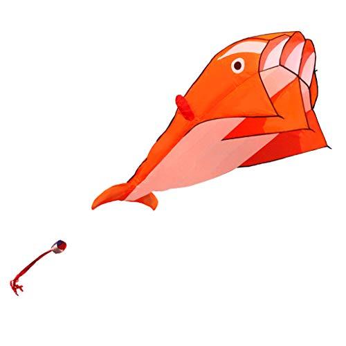 D DOLITY 3D Delphin Einleiner Drachen, Rahmenlos Parafoil Drachen Kite Kinderdrachen Geschenkidee Spielzeug für draußen - Orange
