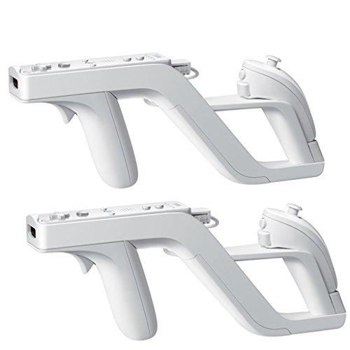 HOTSO 2 x Zapper Gun para Wii o WiiU Nintendo Pistola Soporte para Colocar Mandos y Nunchuk de Juego Perfecto Blanco
