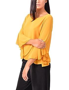 Camicia Camicetta Chiffon Balza Casual Abbigliamento Moda Donna