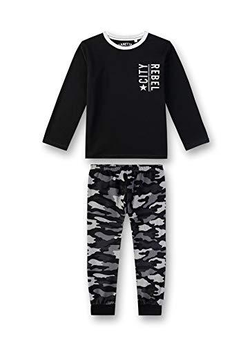 Sanetta Jungen Pyjama Zweiteiliger Schlafanzug, Schwarz (Super Black 10015), (Herstellergröße: 140)