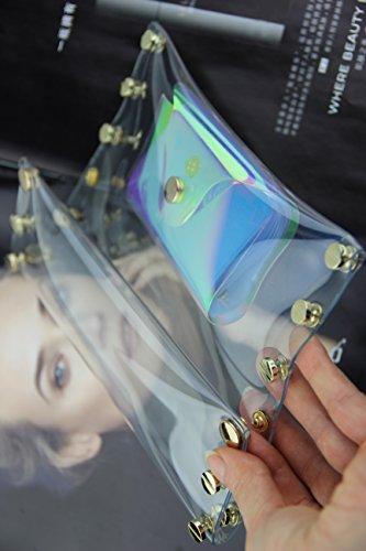 Zarapack donna trasparente arcobaleno ologramma trasparente borsetta borsetta, Clear with Inner Bag (Trasparente) - BA928 Clear