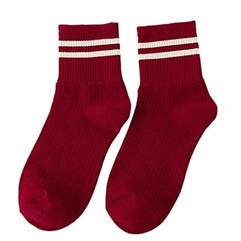 Damen Socken Transer® Mädchen Schule Mode Baumwollmischungen mit Niedlich Gestreift Schwarz Rot Lässige Süß Strumpf (Gestreifte Verbandsmull)