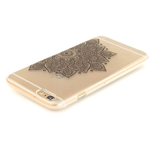 iPhone 6S Plus Hülle, iPhone 6 Plus Hülle, Gift_Source [ Blaue Traumblume ] Hülle Case Transparent Weiche Silikon Schutzhülle Handyhülle Schutzhülle Durchsichtig TPU Crystal Clear Case Backcover Bumpe E1-Schwarze halbe Blume